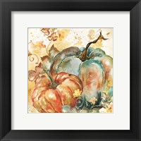 Framed Watercolor Harvest Teal and Orange Pumpkins II