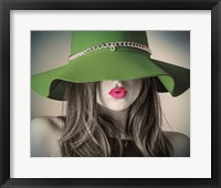 Framed Vintage Fashion - Green Hat