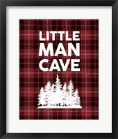 Framed Little Man Cave - Trees Red Plaid Background