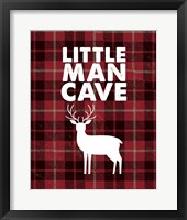 Framed Little Man Cave - Deer Red Plaid Background