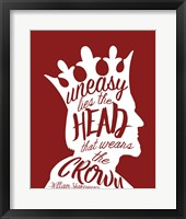 Framed Uneasy Lies The Head Shakespeare - King White on Red