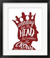 Framed Uneasy Lies The Head Shakespeare - King Red on White