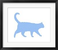 Framed Dot Pattern Cat - Blue