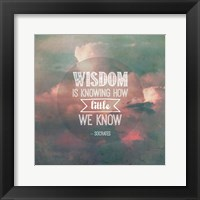 Framed Wisdom is Knowing How Little We Know - Pink Clouds