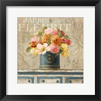 Framed Tulips in Teal and Gold Hatbox