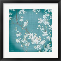 Framed White Cherry Blossoms II on Teal Aged no Bird
