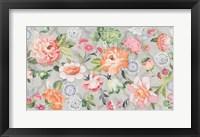 Framed Summer Garden of Delights Gray