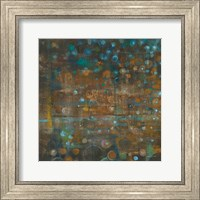 Framed Blue and Bronze Dots IX