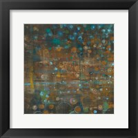 Framed Blue and Bronze Dots IX