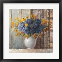 Framed Fall Dahlia Bouquet Crop Blue