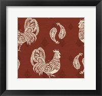 Framed Woodcut Rooster Patterns
