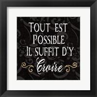 Framed Inspirational Collage IV French on Black