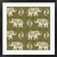 Framed Woodcut Elephant Patterns
