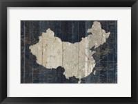 Framed Old World Map Blue China
