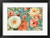Framed Florabundance I Autumn Teal