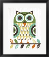 Framed Folk Lodge Owl Earth