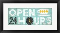 Framed Retro Diner Open 24 Hours Panel