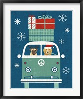 Framed Holiday on Wheels XII Navy