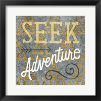 Mod Triangles Seek Adventure Gold Framed Print