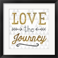 Mod Triangles Love the Journey Gold Framed Print