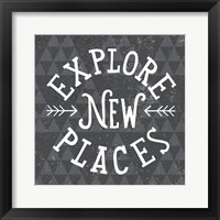 Mod Triangles Explore New Places Framed Print