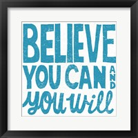 Framed Believe You Can Teal