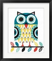 Framed Folk Lodge Owl V2 Teal
