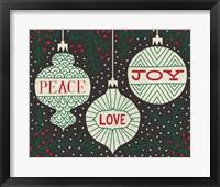 Framed Jolly Holiday Ornaments Peace Love Joy