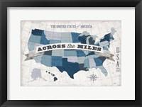 Framed USA Modern Vintage Blue Grey with Words