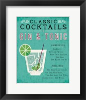 Framed Classic Cocktail Gin and Tonic