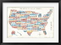 Framed US City Map