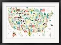 Framed Illustrated USA
