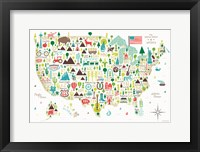 Framed Illustrated USA