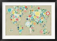 Framed Floral World Tan