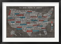 Framed US City Map on Wood Gray