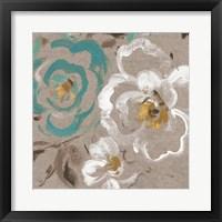 Brushed Petals III Teal Framed Print