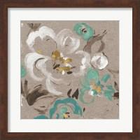 Framed Brushed Petals II Teal