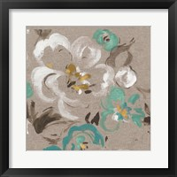 Framed Brushed Petals II Teal