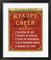 Framed Holiday Recipe I Gold and Red