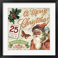 Framed Vintage Christmas II Santa