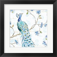 Framed Peacock Allegory III White