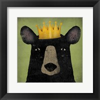 Framed Black Bear with Crown