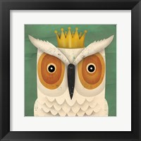 Framed White Owl with Crown