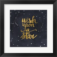 Framed Starry Words Gold - Wish Upon A Star
