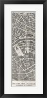 Framed Plan de Paris Panel in Wood