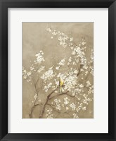 Framed White Cherry Blossom I Neutral Crop Bird