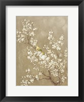Framed White Cherry Blossom II Neutral Crop Bird