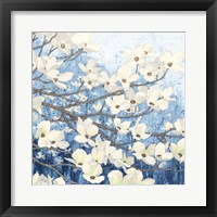 Framed Dogwood Blossoms II Indigo