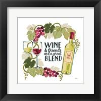 Framed Wine and Friends V on White
