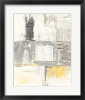 Framed Gray and Yellow Blocks II White